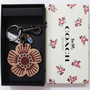 Coach Tea Leather Willow Floral Beechwood Key Fob